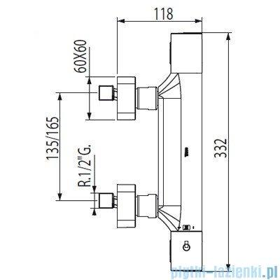 Tres Loft-Tres Bateria natryskowa termostatyczna chrom 200.164.09