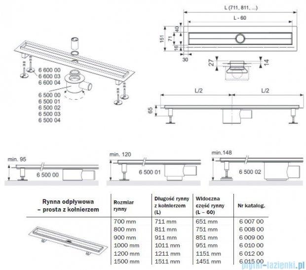 Tece Rynna odpływowa Tecedrainline-prosta z kołnierzem 70 cm 6.007.00