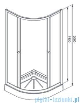 Alterna Iris kabina półokrągła 2-ścienna 90x90x185 cm szron ALTN-995847
