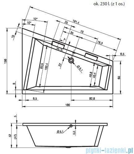 Riho Doppio Wanna narożna 180x130 cm Lewa + nogi + syfon BA91/09/AMC55