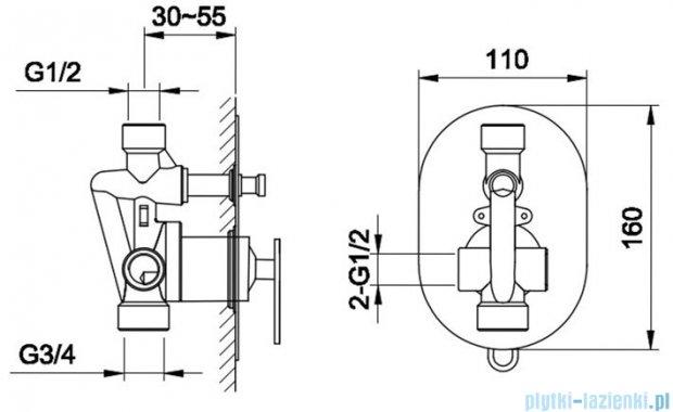 Kohlman Boxine bateria podtynkowa wannowa chrom QW210B