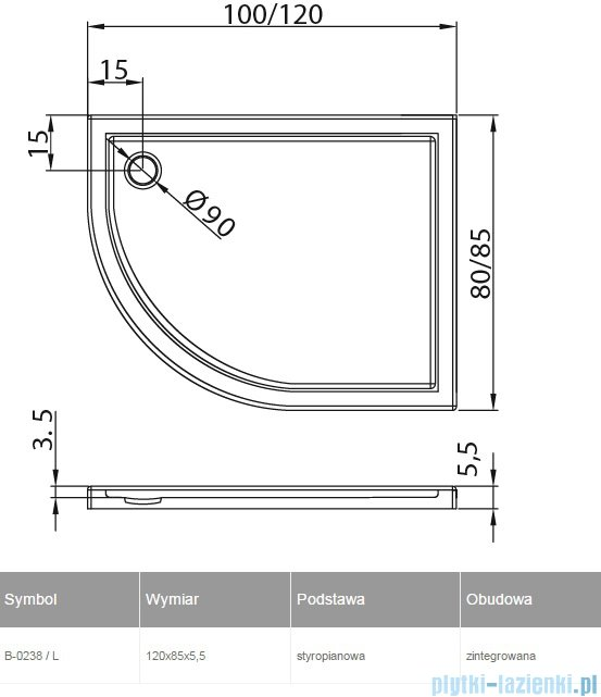 New Trendy Maxima Ultra brodzik asymetryczny posadzkowy na podstawie styropianowej lewy 120x85 B-0238/L