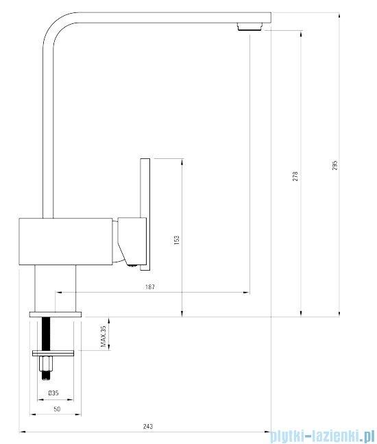 Deante Cubic bateria zlewozmywakowa stojąca z prostokątną wylewką chrom BDD 063M