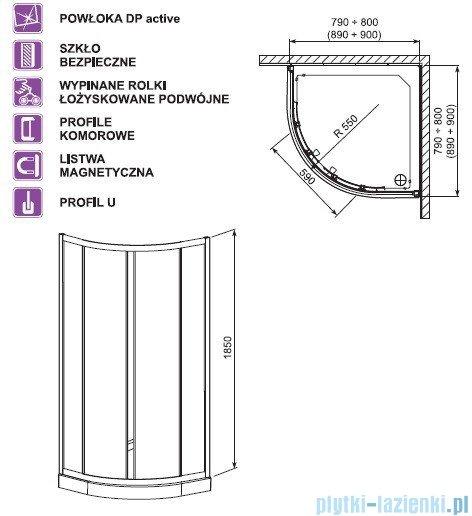 Aquaform Lazuro kabina półokrągła 80cm szkło brick profil chrom 100-06566