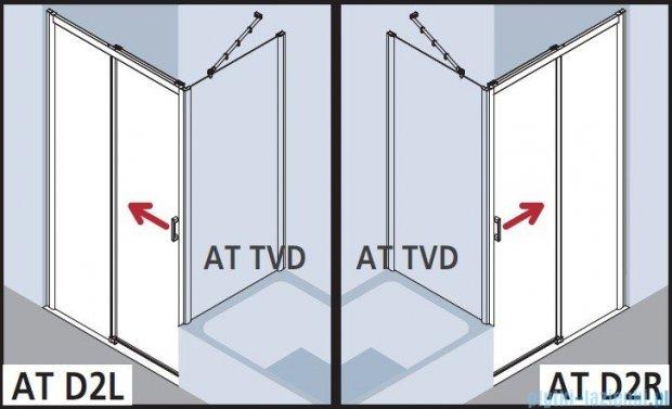 Kermi Atea Drzwi przesuwne bez progu, prawe, szkło przezroczyste, profile srebrne 140x185 ATD2R14018VAK