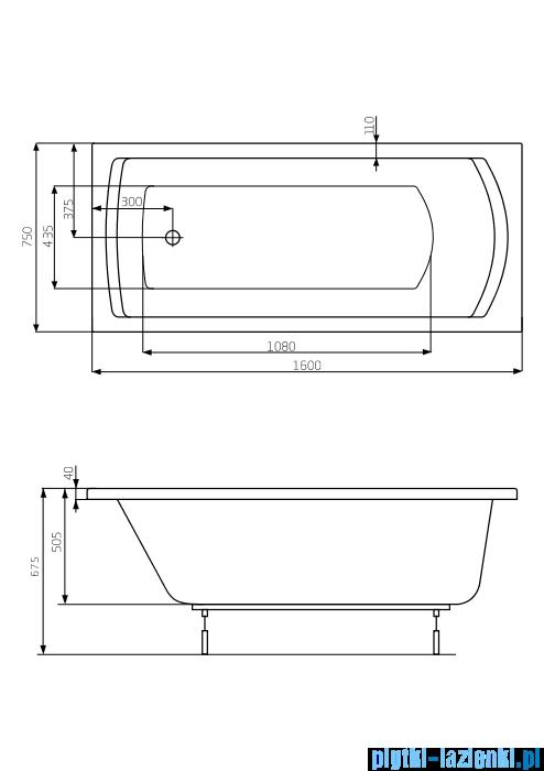 Roca Linea XL wanna 160x75cm z hydromasażem Smart WaterAir Plus A24T030000