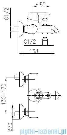 KFA BAZALT Bateria wannowa ścienna 4704-010-00