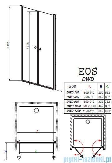 Radaway Eos DWD Drzwi wnękowe 100 szkło przejrzyste 37723-01-01N