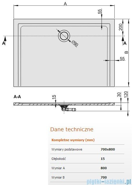 Sanplast Brodzik prostokątny Space Mineral 80x70x1,5cm + syfon 645-290-0110-01-000