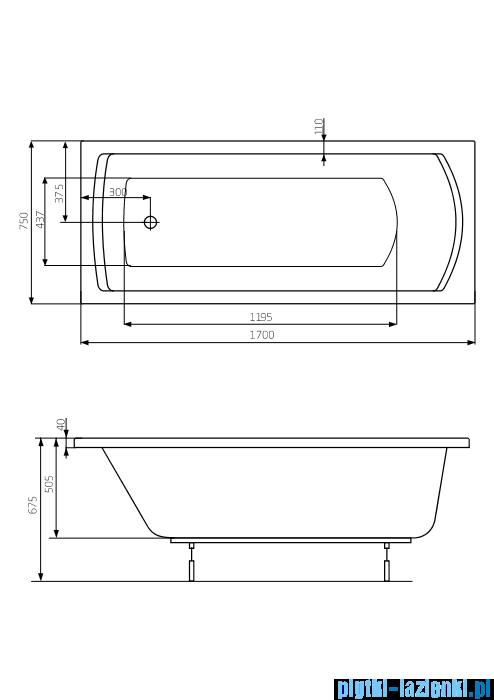 Roca Linea XL wanna prostokątna 170x75 cm akrylowa A24T050000
