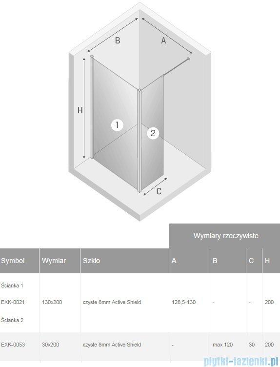 New Trendy New Modus kabina Walk-In 130x30x200 cm przejrzyste EXK-0021/EXK-0053