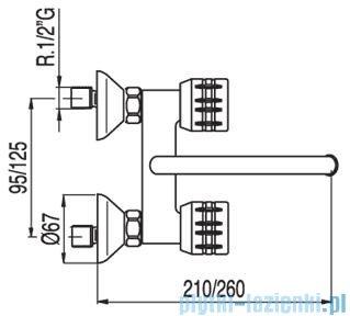 Tres Ese-23 Bateria zlewozmywakowa ścienna kolor chrom 1.23.215