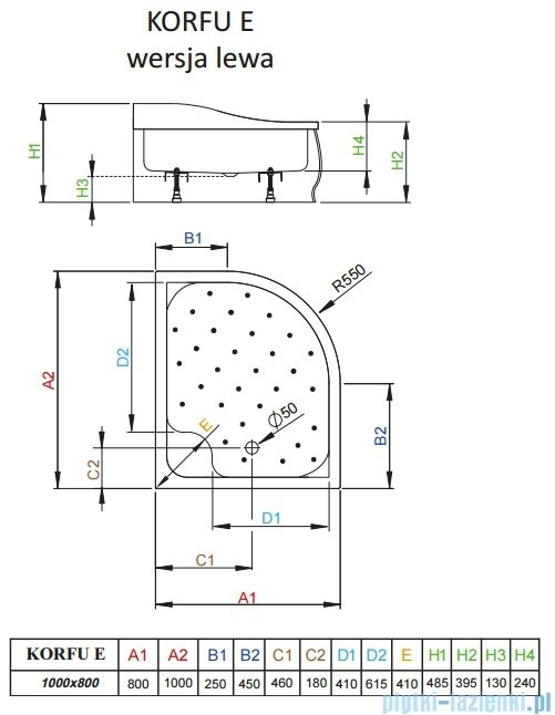 Radaway Brodzik półokrągły Korfu E 100x80 lewy 4E81400-03NL