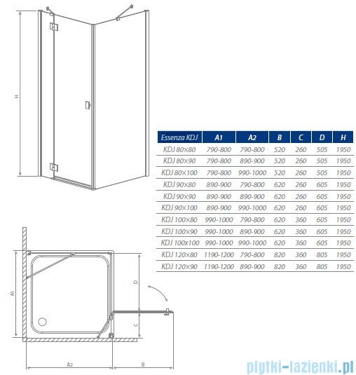 Radaway Kabina prysznicowa Essenza KDJ 120x90 prawa szkło przejrzyste + brodzik Doros D + syfon 32844-01-01NR