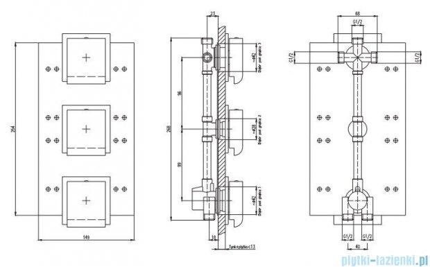 Deante Multi-System bateria do panelu podtynkowego kwadratowa NAC 09AT
