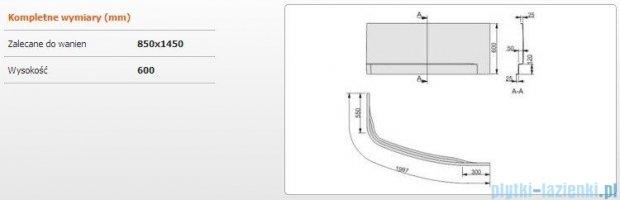 Sanplast Obudowa do wanny Free Line prawa, OWAP/FREE 85x145 cm 620-040-0840-01-000