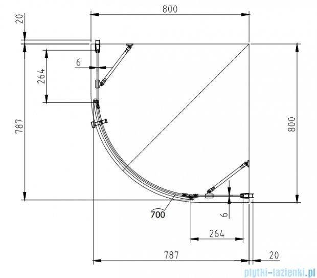 Omnires Manhattan kabina 1-skrzydłowa 80x80x185cm szkło przejrzyste ADF80X