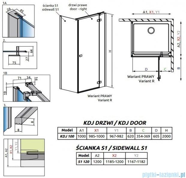 Radaway Fuenta New Kdj kabina 100x120cm prawa szkło przejrzyste 384040-01-01R/384054-01-01