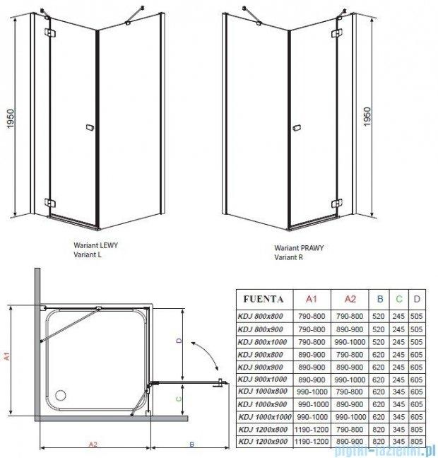 Radaway Kabina prysznicowa Fuenta KDJ 120x80 lewa szkło brązowe 381042-08L