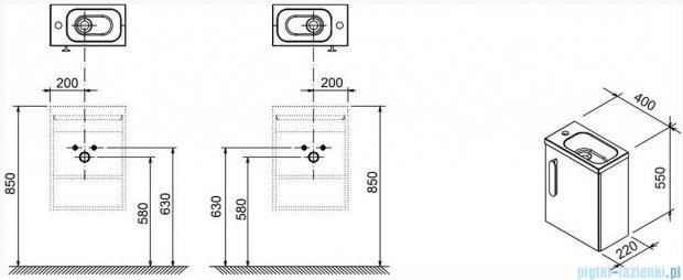 Ravak Korpus szafki SD 400 Chrome biały połysk X000000538