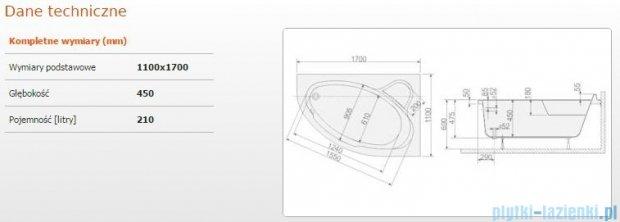 Sanplast Comfort Wanna asymetryczna prawa+stelaż WAP/CO 170x110+ST6 610-060-0450-01-000