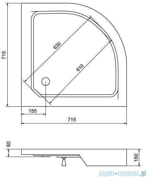 Sea Horse Sigma zestaw kabina natryskowa półokrągła 70x70 chinchilla + brodzik BKZ0/3