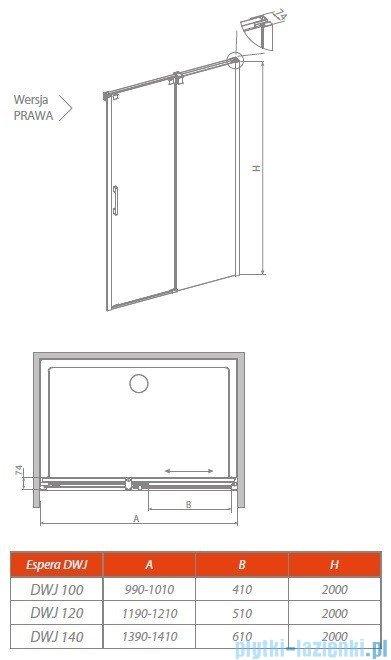 Radaway Espera DWJ Mirror Drzwi wnękowe przesuwne 100 prawe szkło przejrzyste 380110-71R