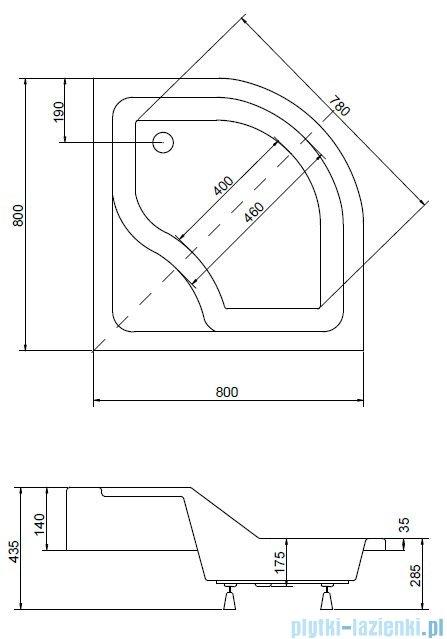 Piramida Oliver Brodzik 80x80x15/25cm półokrągły z podwyższonym siedziskiem #BAO-80-NR