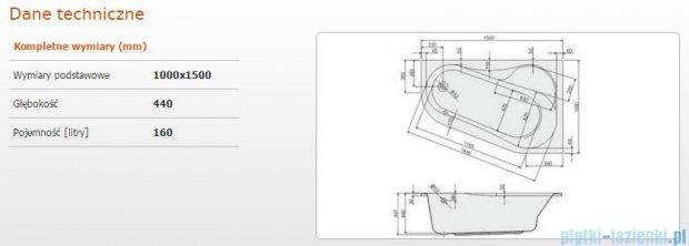 Sanplast As Wanna asymetryczna prawa WAP/AS 100x150 cm 610-130-0321-01-000