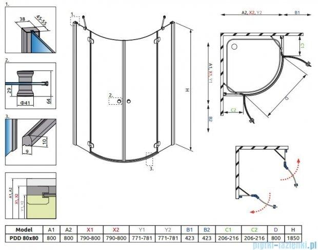 Radaway Torrenta PDD kabina półokrągła 80x80 szkło grafitowe 31610-01-05N