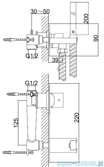 Kohlman Axis bateria bidetowa podtynkowa-bidetta chrom QW138N
