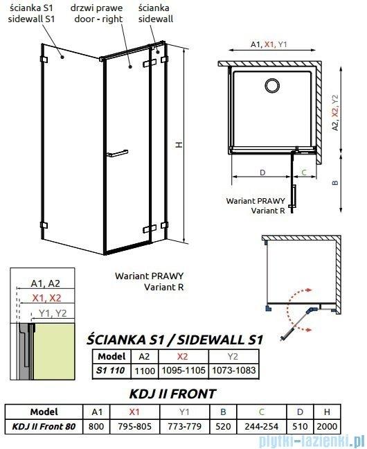 Radaway Arta Kdj II kabina 80x110cm prawa szkło przejrzyste 386420-03-01R/386040-03-01R/386023-03-01