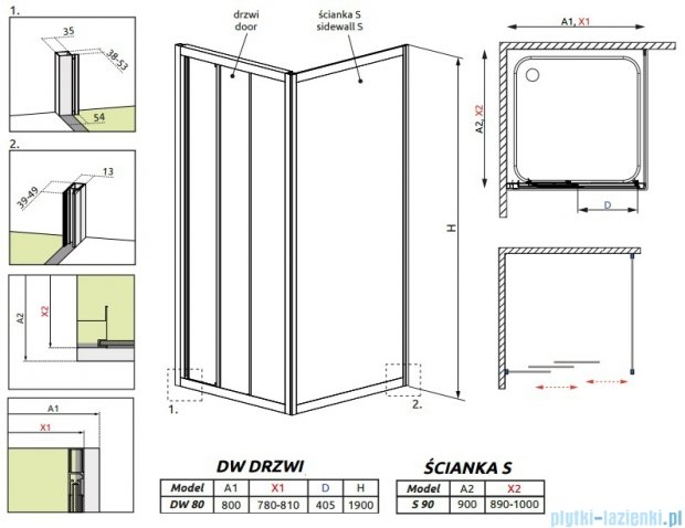 Radaway Treviso DW+S kabina 80x90 szkło fabric 32313-01-06N/32403-01-06N