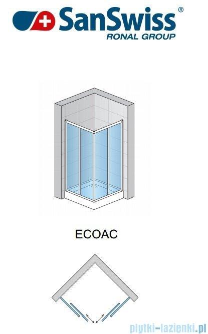 SanSwiss Eco-Line Wejście narożne Eco 80cm profil połysk szkło przejrzyste Prawe ECOD08005007