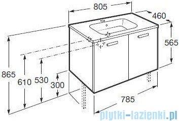 Roca Victoria Basic Zestaw łazienkowy Unik szafka z umywalką 80cm biały połysk A855882806