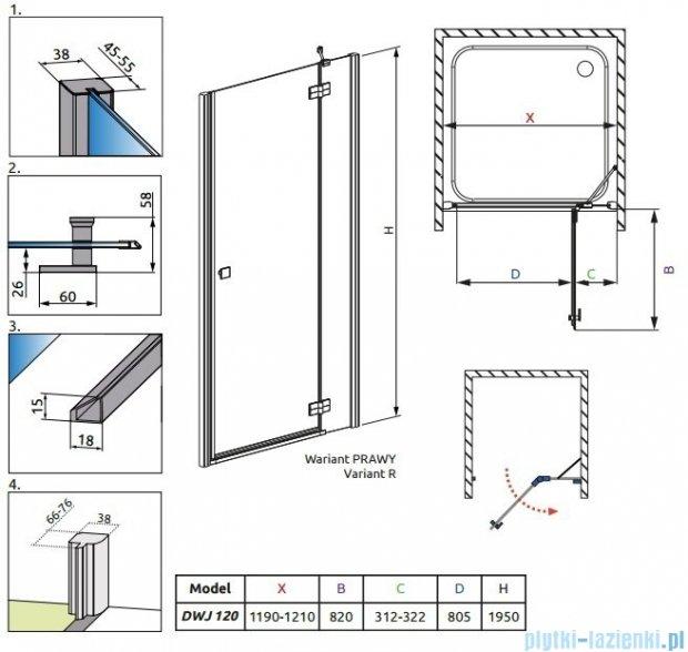 Radaway Almatea  DWJ Drzwi wnękowe 120 Prawe szkło przejrzyste + Brodzik Doros D + syfon 31502-01-01N