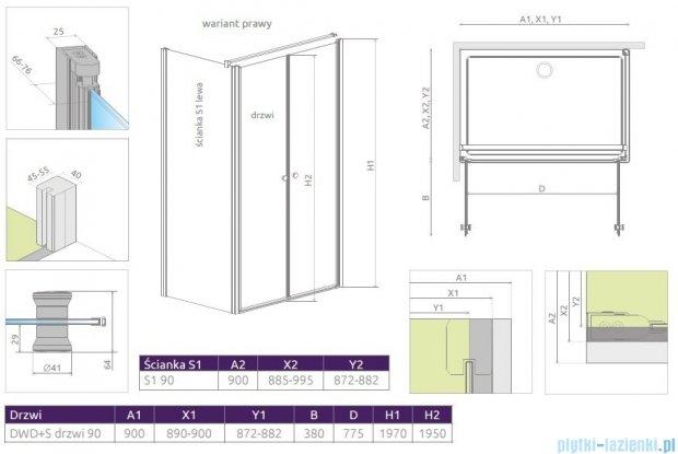 Radaway Eos II DWD+S kabina 90x90 prawa szkło przejrzyste 3799491-01/3799411-01L