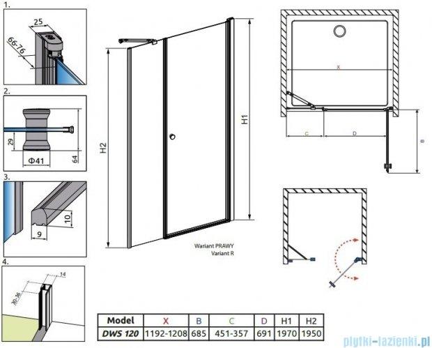 Radaway Eos DWS Drzwi wnękowe 120 prawe szkło przejrzyste 37992-01-01NR