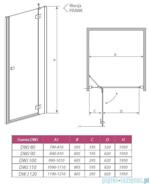Radaway Drzwi wnękowe Fuenta DWJ 90 prawe szkło grafitowe 381013-05NR