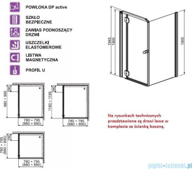 Aquaform Sol drzwi kabinowe do montażu ze ścianką De Luxe 90cm szkło przejrzyste lewe 06052