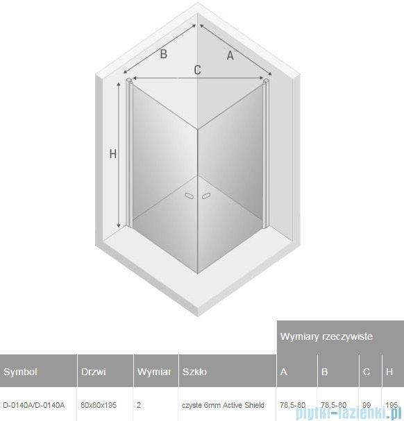 New Trendy New Soleo 80x80x195 cm kabina kwadratowa przejrzyste D-0140A/D-0140A