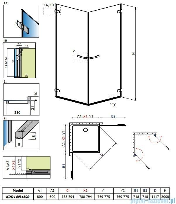 Radaway Arta Kdd I kabina 80x80cm szkło przejrzyste 386060-03-01L/386060-03-01R