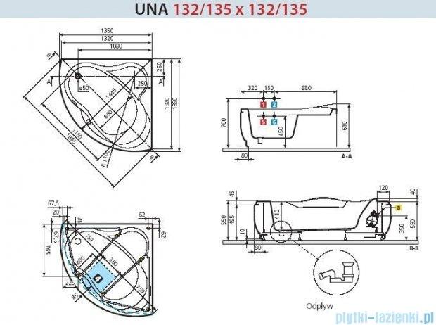 Novellini Wanna UNA HYDRO+DEZYNFEKCJA 135x135 UNA3135135PE-A1K