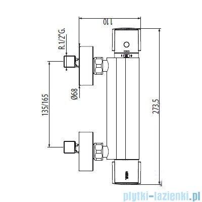 Tres Eco-Term Bateria termostatyczna natryskowa kolor chrom 090.186.01
