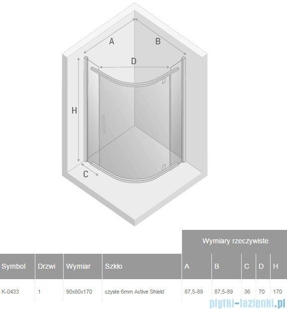 New Trendy New Komfort kabina półokrągła R55 90x90x170 cm przejrzyste K-0433