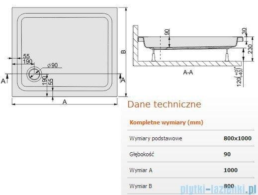 Sanplast Brodzik prostokątny Free Line 100x80x9cm + stelaż 615-040-0170-01-000