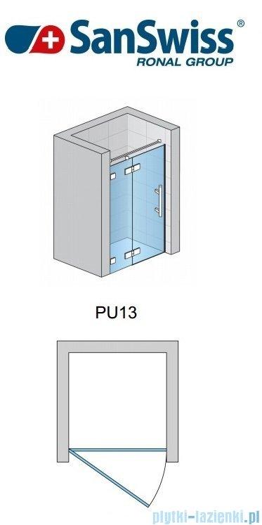 SanSwiss Pur PU13P Drzwi 1-częściowe 120cm profil chrom szkło przejrzyste Lewe PU13PG1201007