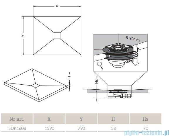 Radaway prostokątny brodzik podpłytkowy z kratką odpływową 159x79cm 5DK1608,5K01,5SK1
