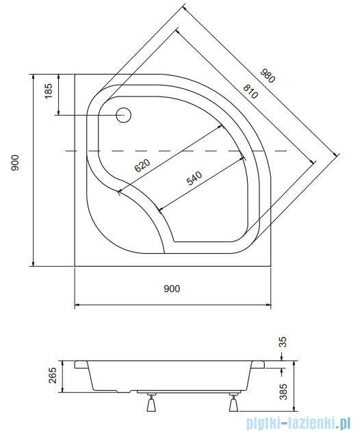 Sea Horse Sigma zestaw kabina natryskowa półokrągła - niska, 90x90 grafitowe + brodzik BKZ2/3/KG/