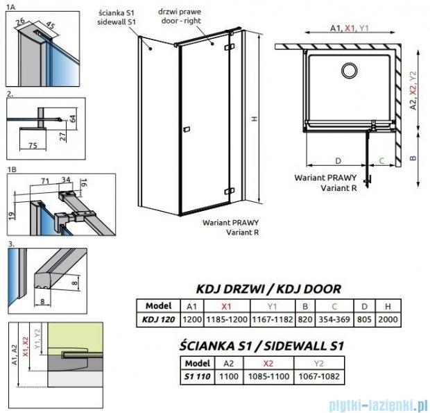 Radaway Fuenta New Kdj kabina 120x110cm prawa szkło przejrzyste 384042-01-01R/384053-01-01